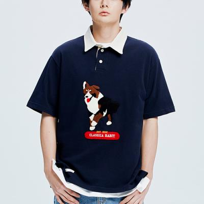 Border Collie Rugby Collar-Tee_navy