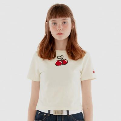 HEART CHERRY CROPPED T-SHIRT IH [WHITE]