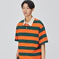 Opening Hour Stripe Rugby Collar-Tee_orange