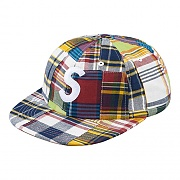 PATCHWORK MADRAS S LOGO 6-PANEL-NAVY PLAID