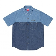 2-TONE DENIM S/S SHIRT-BLUE