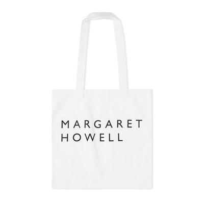 MARGARET HOWELL LOGO TOTE BAG-WHITE
