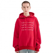"""I LOVE YOU"" Printed Hoodie Red"