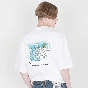 [16수] igloo LOGO back prining 화이트