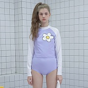 [7월22일 예약발송] Flower point crop rash guard set-purple