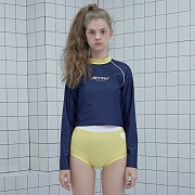 Heart lover crop rash guard set-navy