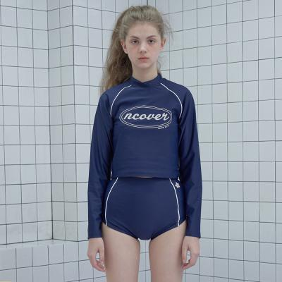 Original crop rash guard set-navy