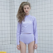 [7월22일 예약발송] Original crop rash guard set-purple