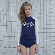 Rainbow logo rash guard set-navy