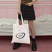 Rainbow logo eco bag-white