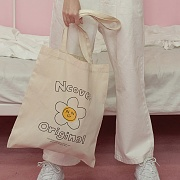 Flower graphic eco bag-ivory
