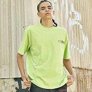 [COVERMENT]Basic Logo Graphic Print Over-Fit T-Shirts_Neon Green