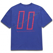 [COVERMENT]Signature Logo Graphic Print Over-Fit T-Shirts_Blue