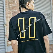 [COVERMENT]Signature Logo Graphic Print Over-Fit T-Shirts_Black