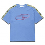 [COVERMENT]Side Tape Contrast Over-Fit T-Shirts_Pastel Blue