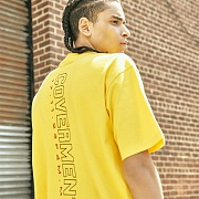 [COVERMENT]Vertical Big Logo Graphic Print T-Shirts_Yellow