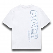[COVERMENT]Side Vertical Big Logo Print Over-Fit T-Shirts_White(Blue)