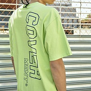 [COVERMENT]Side Vertical Big Logo Print Over-Fit T-Shirts_Neon Green(Blue)