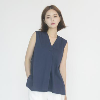 Chiffon Sleeveless Blouse (NAVY)