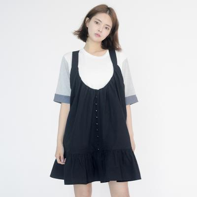 Frill Vest Boxy One-piece (BLACK)