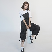 Cotton Check Long-wide Jumpsuit (BLACK)