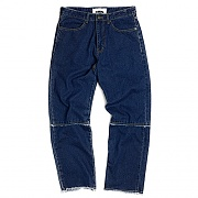 Washed Cut-Off Panel Denim_medium blue