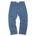 Washed Cut-Off Panel Denim_light blue