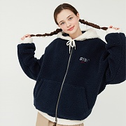 TWO TONE SHEARLING HOOD ZIPUP_navy