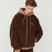TWO TONE SHEARLING HOOD ZIPUP_brown