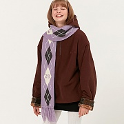 ARGYLE FRINGE KNIT MUFFLER_light purple
