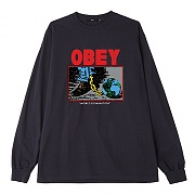 (167102137) OBEY WORLD DOMINATION HEAVYWEIGHT BOX LONG SLEEVE TEE-OBK