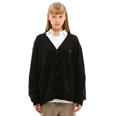 SMALL CHERRY V NECK CARDIGAN JS [BLACK]