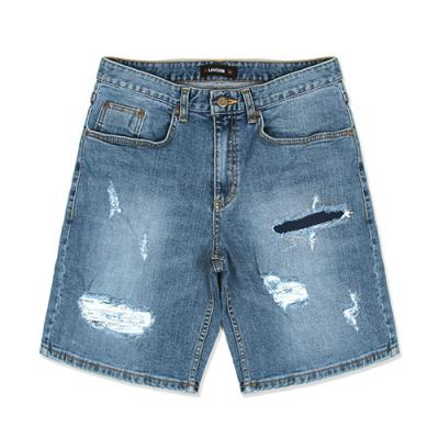 REGULAR FIT DENIM SHORTS-WASHED BLUE