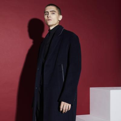Pocket Color-block 2-Button Single Coat NAVY